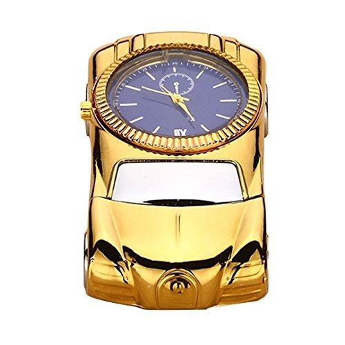 Meliya Sturmfeuerzeug, Autoform mit integrierter Uhr, USB-Ladefunktion, Geschenkidee gold