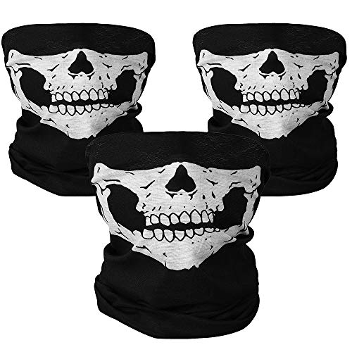 Rovtop 3 Pezzi Skull Mask Skull Classic Soft Mezza Maschera Xpassion Poliestere Bandana Maschera Per Bici Motocicletta Sci Sport Maschera Viso Cranio da Moto Antipolvere Antivento Senza Cucitu