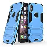 LZXAL Caja del teléfono móvil Funda a Prueba de Golpes iPhone 7 8 Plus 6 6S 5 5S Funda de Armadura Soporte para Anillo de Dedo Fundas para teléfono para iPhone X XS MAX XR-para iPhone XR-Soporte Azul