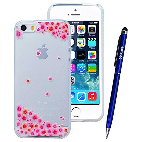 Yokata iPhone SE / iPhone 5 / iPhone 5s Transparent Weich Silikon Gel Crystal Clear TPU Case Handyhülle Schutzhülle Schale Etui Durchsichtig Ultra Slim Backcover Silicone Bumper Protective Cover mit P Plum Blossom