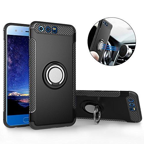 Huawei Honor 9 Hülle ,Honor 9 Handyhülle mit Ring Kickstand - Mosoris Premium Silikon Shell mit 360 Grad Drehbarer Ständer und Handyhalterung Auto Magnet Ring , Dual Layer Stoßfest Rüstung Schutzhülle Bumper Tasche Case Cover für Huawei Honor 9 , Schwarz