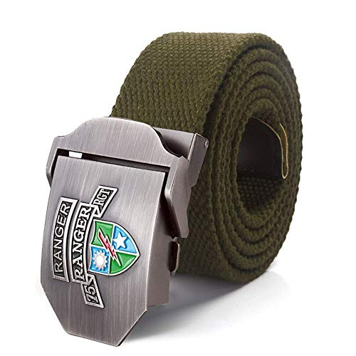 YUANZYYD Tactical Belt,Army Green Vintage Us 75Th Ranger Regiment Canvas Belt Alloy Buckle Military Men Belt Army Tactical Belts for Men Male Strap,130Cm