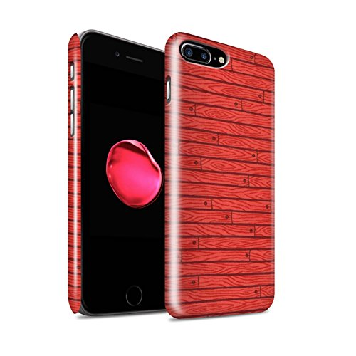 STUFF4 Glanz Snap-On Hülle / Case für Apple iPhone 8 Plus / Beige Muster / Holz-Muster Kollektion Rot