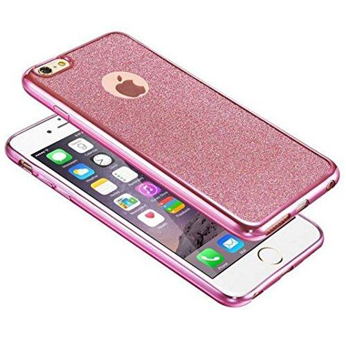iPhone 6/6s Glitzer Hüll,SUNAVY Bling Ultra-Thin Weich TPU Abdeckung+Überzug Rand+Glitzer Papier 3-in-1 Mode Luxuriös Schutzhülle für Apple6/6s,4.7zoll,Rosa Rosa