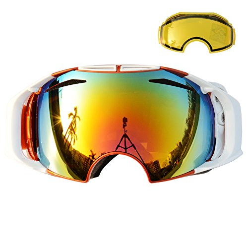 Supertrip TM UNISEX Skibrille Snowboardbrille Professionelle UV400 Schutz Skibrillen Dual-Vented Linse mit F3 Anti-Fog-Beschichtung