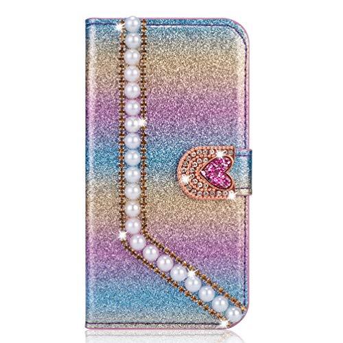 Miagon Hülle Glitzer für Huawei P30,Luxus Diamant Strass Perle Herz PU Leder Handyhülle Ständer Funktion Schutzhülle Brieftasche Cover,Regenbogen Blau