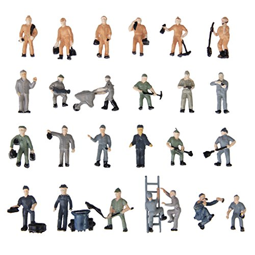 Generic 25pcs Painted Model Train Railway Workers People Figures with Ladder and Bucket---Mixed Style 1:87