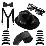 Aneco Mafia Kostüm Set Al Capone Hut Krawatte Hosenträger Schnurrbart Sonnenbrillen,20er Jahre Party Kostüum im Gangster Zuhälter-Look