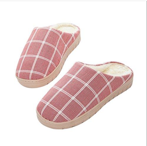 Winter Cotton Slippers épais Indoor base anti-dérapant Femme Pantoufles Accueil Gardez Laine chaud Chaussons Automne et Hiver Chaussons Ms # 3