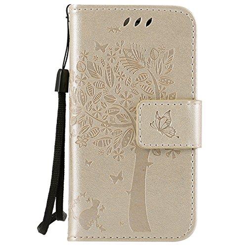 iPhone 4S Hülle,Leder Flip Case für Apple iPhone 4S,Ekakashop iPhone 4 PU Leder Tasche Flip Wallet Case Cover Stand Lederhülle Brieftasche mit Kartensteckplätze,Bookstyle Katzen und Baum Muster Magnet Gold