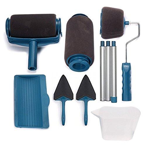 Homier furniture set di rullo per pittura con tubo di prolunga multifunzione professionale pennello a rullo da pittura per manico in ottone per fai da te 8 psc