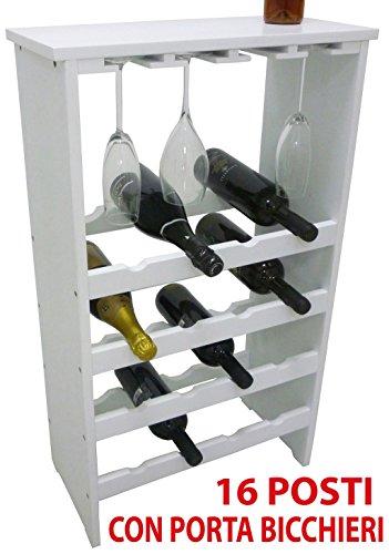 SF SAVINO FILIPPO Mobile Porta Bottiglie Bicchieri Bianca cantinetta Vino Legno Bianco 16 posti con Porta Bicchieri e ripiano per enoteca Cantina