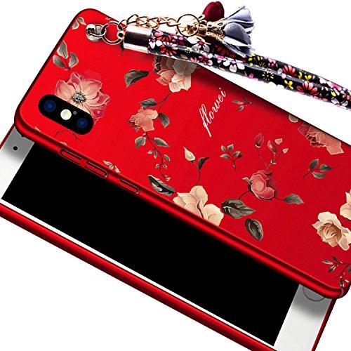 """Rouge Très Mince Coque iPhone X 5.8"""" Etui Housse Case Hard PC Matière avec [Protecteur d'écran] [Ultra Mince] [Ultra Léger] Anti-Rayures Anti-dérapante Dur Matte Cover,Sunroyal Élégant Motif Fleurs de Rouge Peony"""