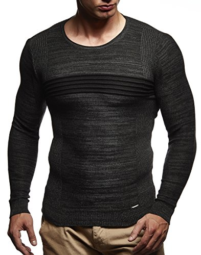 LEIF NELSON Herren Pullover Strickpullover Longsleeve Hoodie Basic Rundhals Crew Neck Sweatshirt langarm Sweater Feinstrick LN1600; Grš§e M, Schwarz-Anthrazit