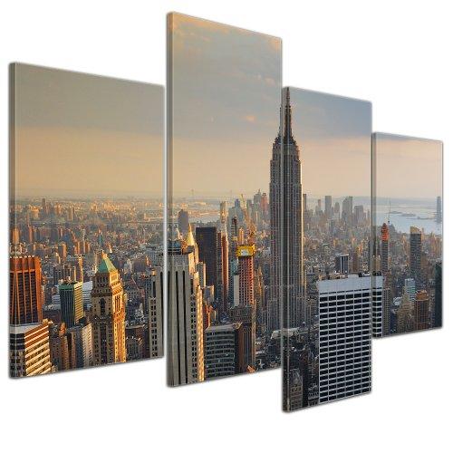 Kunstdruck - New York City II - Bild auf Leinwand - 120x80 cm 4 teilig - Leinwandbilder - Bilder als Leinwanddruck - Wandbild von Bilderdepot24 - Städte & Kulturen - Amerika - Stadtansicht von New York - Luftaufnahme von Manhattan