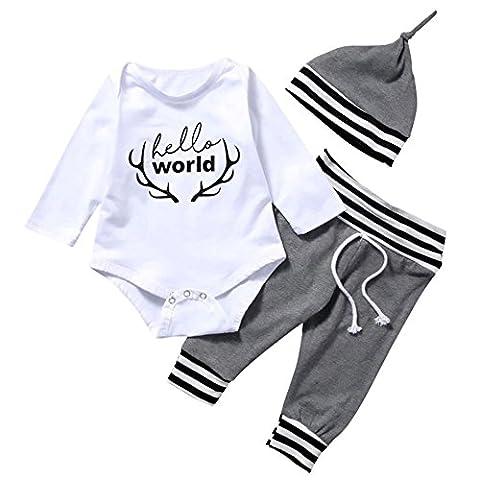 SCFEL Neugeborenes Baby Mädchen Unisex Hallo Welt Geweihe Druck Spielanzug + Leggings + Hut Kleidung Set
