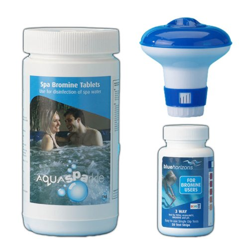 Happy Hot Tubs * The Bromine Starter Kit* Includes Bromine Tablets 1kg, Test Strips And Dispenser Hot tub Spa Tubs Swimming Pool Test