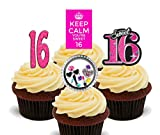 16. Geburtstag Mädchen, Sweet 16Essbare Cupcake Topper–Stand-Up Wafer Kuchen Dekorationen, 12er-Pack