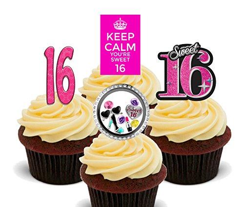 hen, Sweet 16Essbare Cupcake Topper–Stand-Up Wafer Kuchen Dekorationen, 24er-Pack (Sweet 16 Dekorationen Billig)