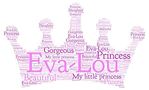 Personalised Word Art Print princess crown birthday gift keepsake card frame