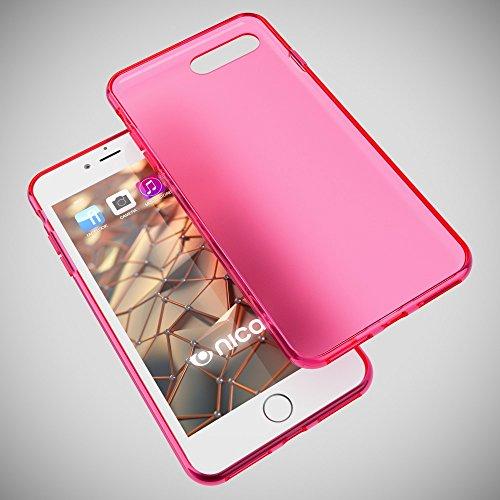 iPhone 8 Plus / 7 Plus Hülle Handyhülle von NICA, Ultra-Slim Silikon Case, Dünne Crystal Schutzhülle, Etui Handy-Tasche Back-Cover Bumper, Gummihülle für Apple i-Phone 7+ / 8+ - Matt Pink Matt Pink