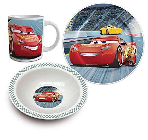 Disney Cars Keramik Frühstücks-Set Geschirr 3-tlg. (Disney Keramik)