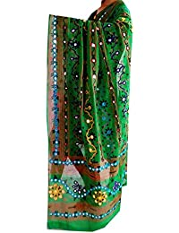 Green Gujarati Traditional Dupatta, Foil Mirror Work , Women's Cotton Embroidered Dupatta , Girl's Long Scarf