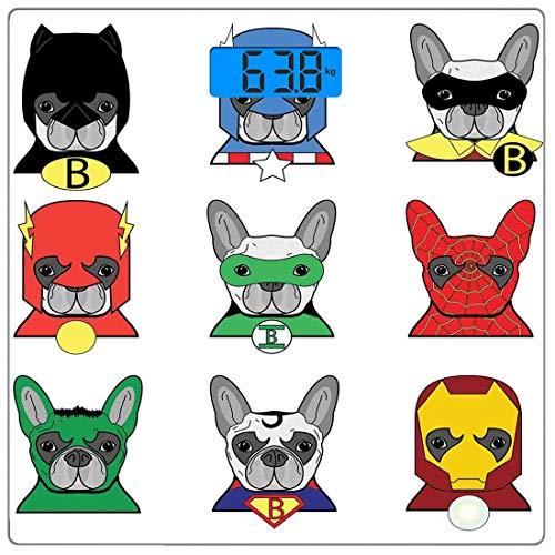 Precision Digital Körpergewicht Waage Superheld Ultra Slim Gehärtetes Glas Personenwaage Genaue Gewichtsmessungen, Bulldog Superhelden Spaß Cartoon Welpen in Verkleidung Kostüm Hunde mit Masken Print,