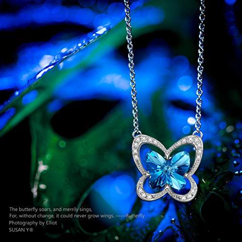 955df16b92af Susan Y Mariposa Collar Mujer con Cristales de Swarovski Azul joyeria  Colgante Regalos Cumpleanos Regalos Dia de la Madre Regalos de San Valentin  Regalos de ...