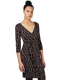 KRISP® Femmes Robe Portefeuille Moulante Imprimée Elégante Vintage