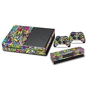 Xbox One Designfolie Sticker Skin – Vinyl Aufkleber Schutzfolie für Xbox One Konsole mit 2 Aufkleber für Xbox One Controller – Gekritzel