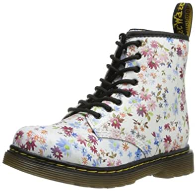 Dr Martens Infants Brooklee 8-Eye Leather Boot Little Flowers Blue Size 6