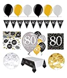 Feste Feiern Geburtstagsdeko Zum 80 Geburtstag I 31 Teile All In One Set Luftballon Wimpel Blüten Konfetti Gold Schwarz Silber Party Deko Happy Birthday