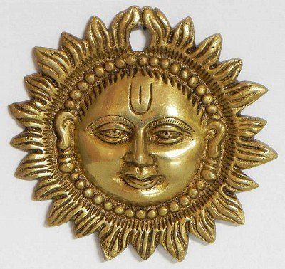 Wall Hanging Sun Face Brass Metal Plaque Indian Home Decor (3.5 Inch) by AVS STORE ®