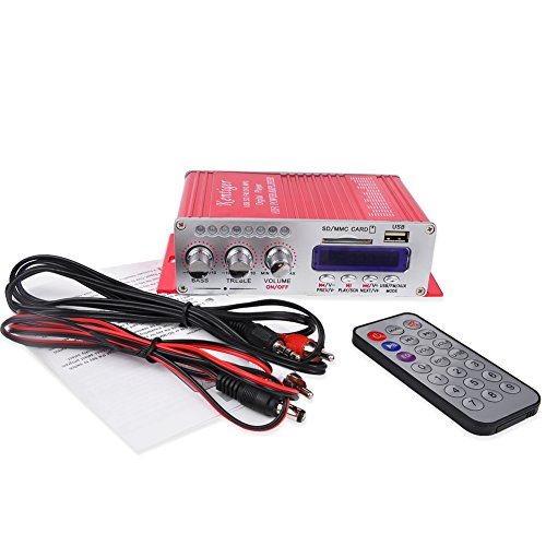 INHDBOX Mini USB FM Hifi Car Stereo Audio MP3 Player Power Amplifier MP3 iPod CD/DVD player Input With Remote Control Red