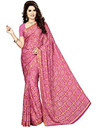 Rani Saahiba Women's Crepe Georgette Saree with Blouse Piece