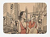 ARTOPB Jazz Music Bath Mat, an Jazz Singer with Double-Bass Player in a Street of New York Urban Lifestyle, Plush Bathroom Decor Mat with Non Slip Backing, 23.6 W X 15.7 W inches, Brown Beige
