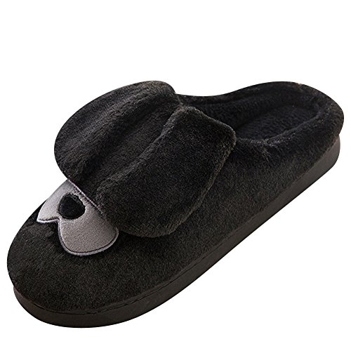 Coppie Pantofole Calde Morbido Scarpe Antiscivolo Home Cartone Animato Slippers Nero