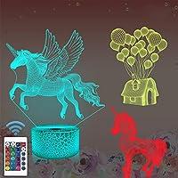 Cadeau en forme de licorne - Veilleuse 3D pour enfants (3 motifs) avec télécommande et 16 couleurs changeantes et fonction à intensité variable, cadeau d'anniversaire ou de Noël pour filles et garçons