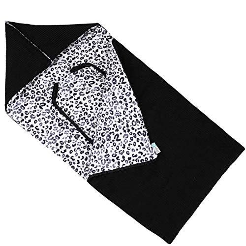 Schlafsack für Babyschale von Ukje Universell Schwarz Grau Leopardenmuster Rippstoff/Cord für Maxi-Cosi, Cybex, Izi Go und mehr Weich & Sehr Warm im Winter Öko-Tex Baumwolle Fairmade