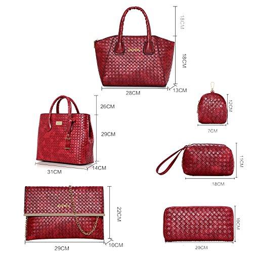 Sunas Il tessuto di modo del sacchetto di spalla della borsa delle donne di estate 2017 estate nuovo 6 insiemi del raccoglitore dell'unità di elaborazione delle borse marrone
