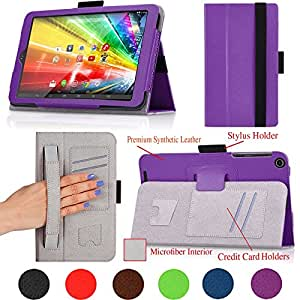 For ASUS VIVO Tab 8 (M81C) 8-inch Tablet Premium QUALITY PU LEATHER FOLIO PROTECTIVE SMART CASE, COVER, STAND with MICROFIBER INNER, STYLUS SLOT, Hand Strap and Credit Cards / ID Holders! PURPLE.