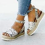 QIMITE Sandalias Plana Las Mujeres Sandalias De Cuñas Zapatos De Tacones Altos Bombas Sandalias Verano Flip Flop Sandalias De Plataforma Serpentina De Color,Foto,38