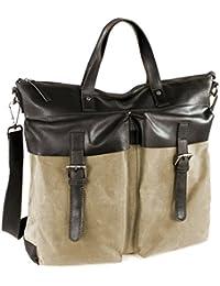 Bugatti Urbano sac cabas serviette mallette en toile et cuir lisse (41x41x13 cm)