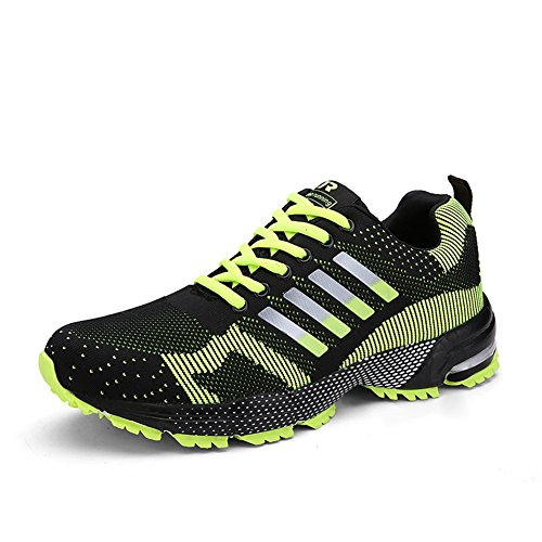 Damen Herren Laufschuhe Sportschuhe Turnschuhe Trainers Running Fitness Atmungsaktiv Sneakers(Grun,Grose 43)