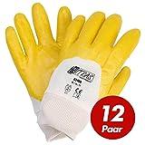 NITRAS 03400 Nitrilhandschuhe mit Strickbund gelb - teilbeschichtet auf Baumwoll-Trikot Handschuh - VPE 12 Paar, Größe:9 (L)