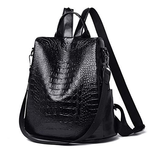 Mode Retro Rucksack weiblichen europäischen und amerikanischen weichen Gesicht Frauen Rucksack (Color : Black, Size : 38.0 cm*6.0 cm*30.0 cm)