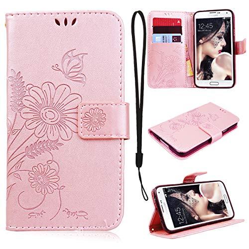 CE-Link Cover Samsung Galaxy Case Wallet Card Holder Protective Retro Funzione Stand Fiore e Farfalla, Porta Carte e Protettiva Flip Portafoglio Cover - Rose Gold