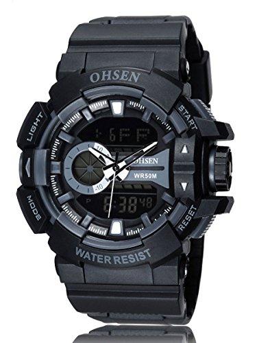 Alienwork 5ATM Analog-Digital Armbanduhr Multi-funktion LCD Uhr Backlight schwarz Polyurethan OS.AD1505-1
