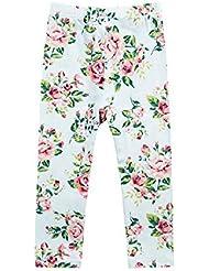 Little filles Imprimé Floral Rose Legging Blanc confortable pour femme 3–4X